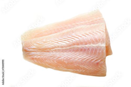 Fotografia, Obraz Raw Mild White Fish Isolated on White