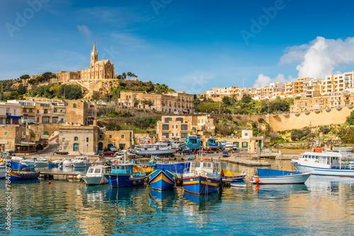 Fotografie, Obraz Mgarr port de pêche et de ferry à Gozo, Malte