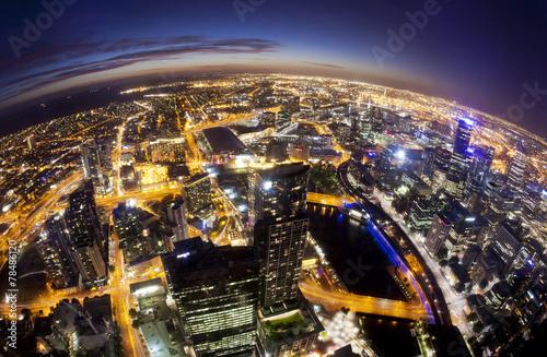 Fisheye view of Melbourne CBD , Australia