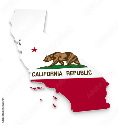 Vászonkép 3D geographic outline map of California with the state flag