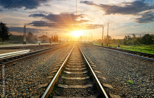 Obraz na plátně Railroad and station