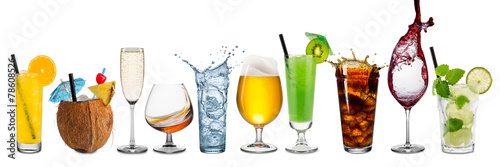 Canvas Print row of various beverages