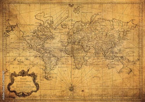 Fotografia vintage map of the world 1778