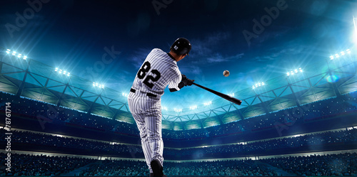 Canvas Print Professional baseball players on night grand arena