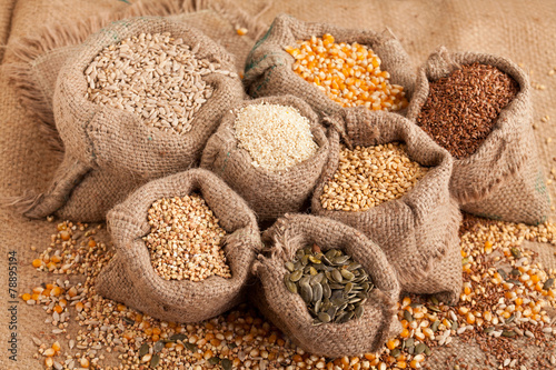 Organic seeds in jute sack