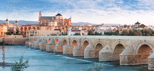 Fototapeta premium Most Rzymski i rzeka Gwadalkiwir, Wielki Meczet, Kordoba, Spai