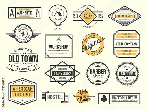 Stampa su Tela set of vintage logos, badges and labels, vector illustration