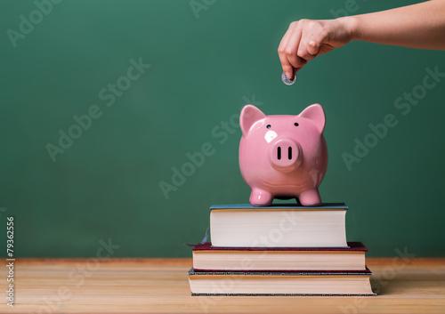 Depositing money in a piggy bank on top of books Fototapeta