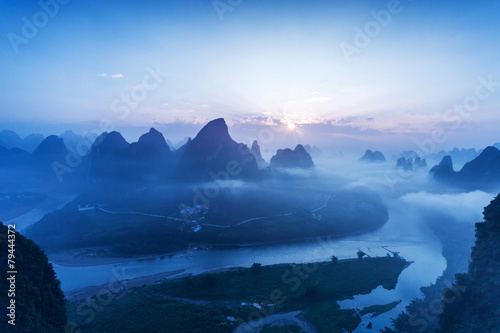 Fototapeta sky,mountains and landscape of Guilin
