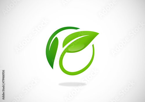 Photo leaf nature ecology circle vector logo