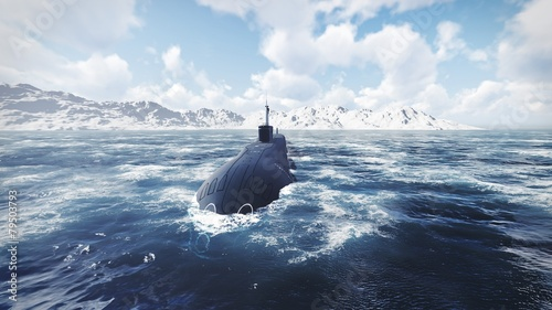 Canvas Print Russian nuclear-powered submarine front view 2