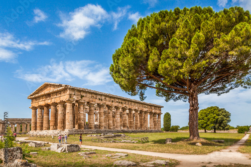 Canvas Print Temples of Paestum Archaeological Site, Salerno, Campania, Italy