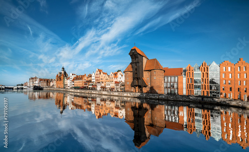 Cityscape of Gdansk, view across the river