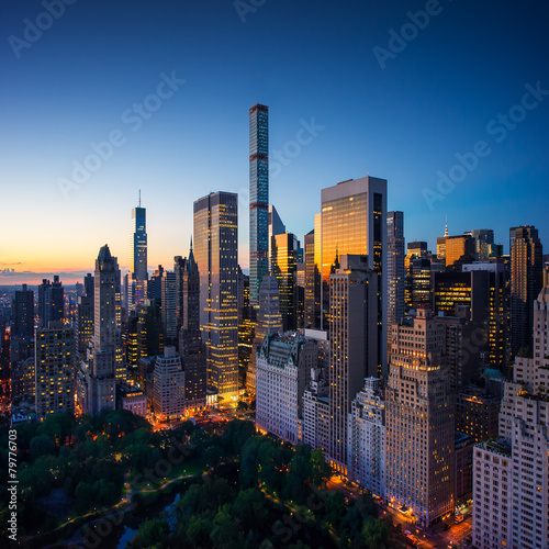 Canvas-taulu New York city, amazing sunrise over central park and upper east