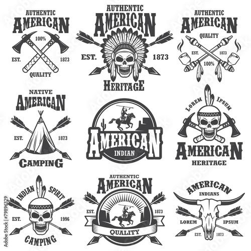 Wallpaper Mural Set of american indian emblems