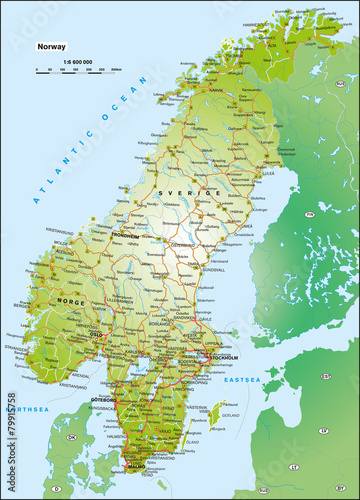 Canvas Print Norwegen Schweden 1:6,6 Mio