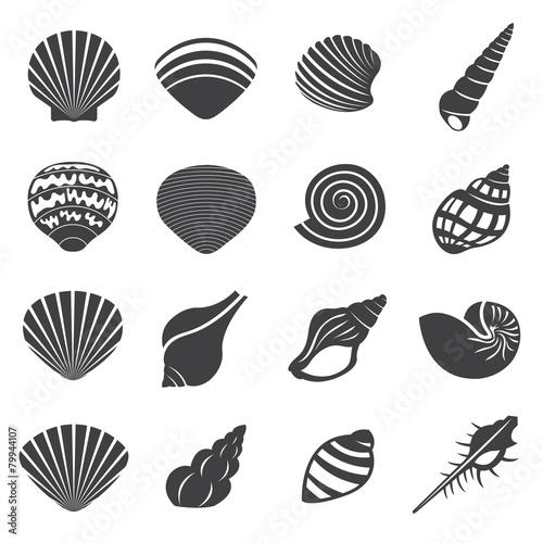 Sea Shell Flat Mono Icons Set Fototapet