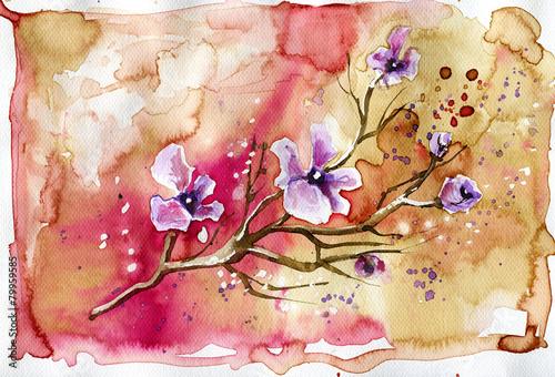 Naklejki na drzwi ilustracja przedstawiająca wiosenne kwiaty na łące