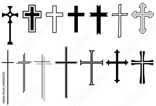 Set: Kreuz, Kruzifix, Vektor, schwarz, freigestellt Fotobehang