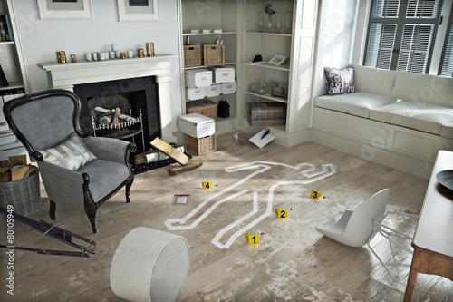 Valokuvatapetti Home invasion , crime scene in a wrecked furnished home.