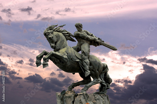 Photo Yerevan, monument David of Sasun - hero of the Armenian epos