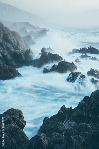 The Pacific Ocean coastline, with waves crashing against the shore.  #80387975