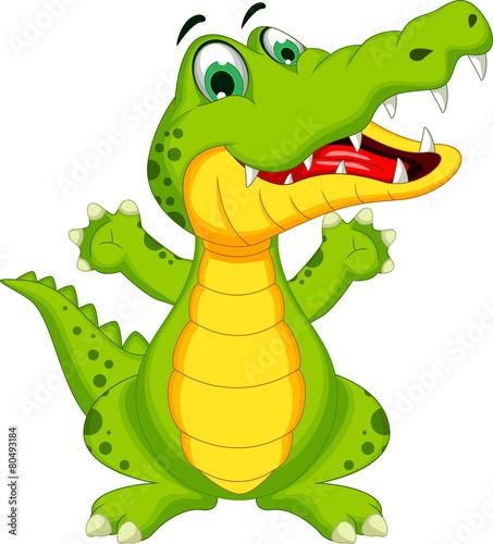 Cuadros en Lienzo crocodile cartoon posing