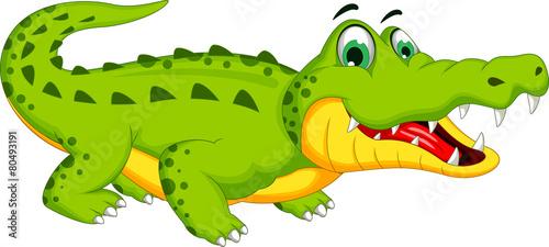 Vászonkép crocodile cartoon posing