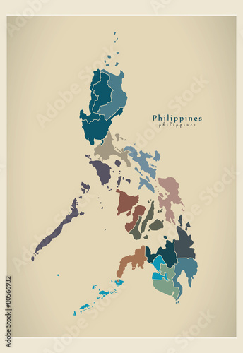 Canvas Print Modern Map - Philippines with regions PH