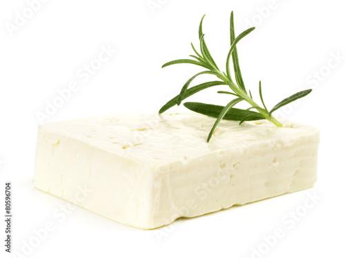 Feta Käse mit Rosmarin - Freigestellt