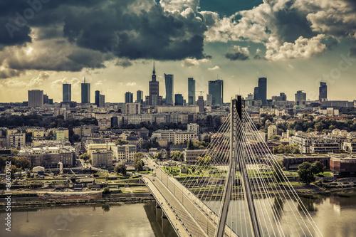 Warsaw skyline behind the bridge vintage view, Poland #80613902