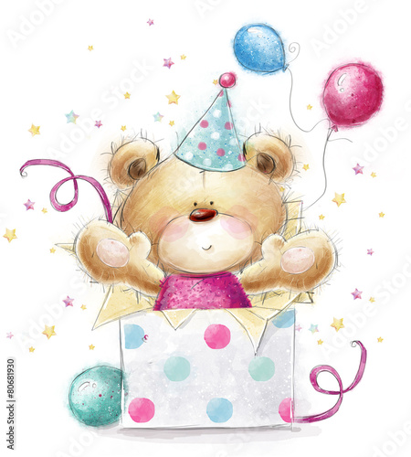 Teddy bear with the gift and ballons. #80681930