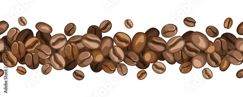 Fotografiet Vector horizontal seamless background with coffee beans.