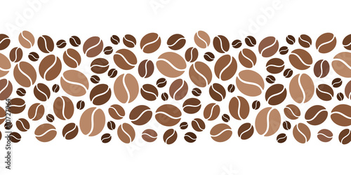 Fotografia Horizontal seamless background with coffee beans. Vector.