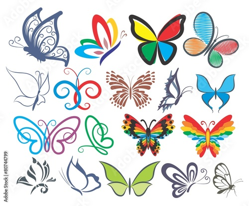 Set of logos of butterflies in different styles. #80744799