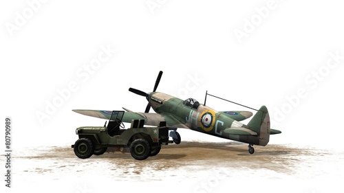 Fotografia Spitfire Airplane and Jeep - isolated on white background