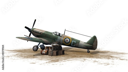 Fotografia Spitfire Airplane - isolated on white background