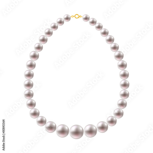 Wallpaper Mural Round Pearls Necklace on white background.