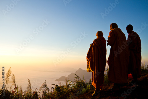 Fotografie, Tablou monks on the top of mountain