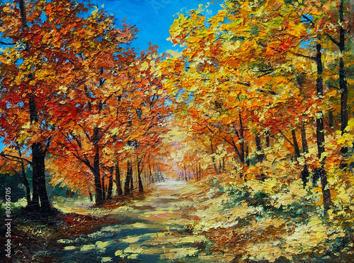 Oil Painting landscape - autumn forest, bright red leaves, blue
