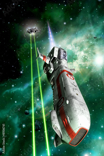 Canvas-taulu space fighters dogfight