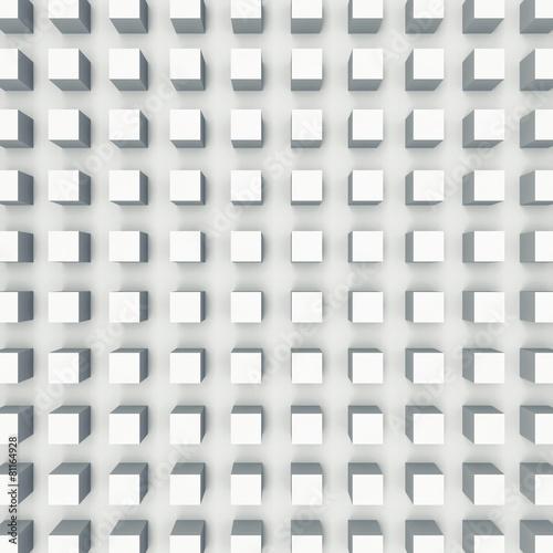 Reliefowy sześcianu wzór na biel ścianie, 3d ilustracja