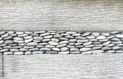 Wall layer with pebbles stone and cement,Texture background #81173576