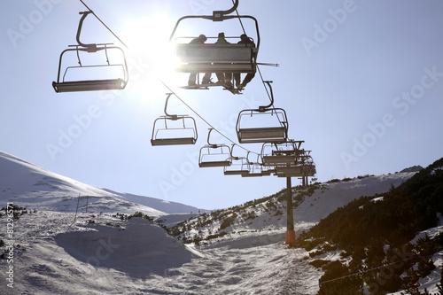 Chairlift in Tatra Mountains near Zakopane. Poland