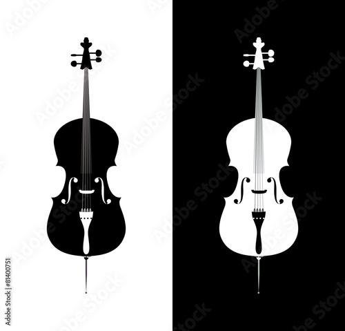 Cello in black and blue colors Fototapeta