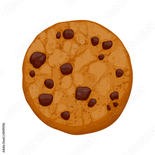 Photo Chocolate chips cookie vector illustration.