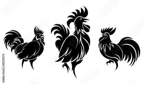 Foto Set of cocks silhouettes