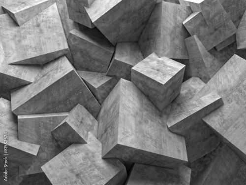 geometric abstract background with cubic polygonal shapes in concrete material and different sizes. nobody around.
