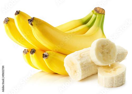 Fotomural Plátanos aislados en el fondo blanco