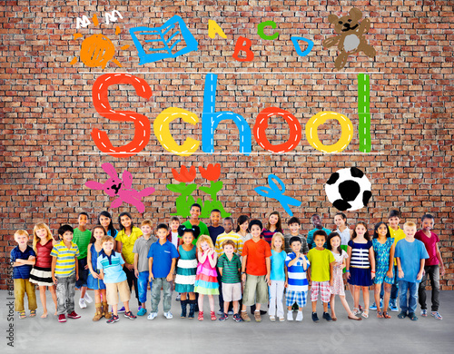 Kids Imagination Handwriting School Learning Concept #81645562